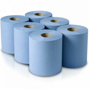 6 Rolls 2 Ply Blue Centre Feed Embossed Paper Hand Towel